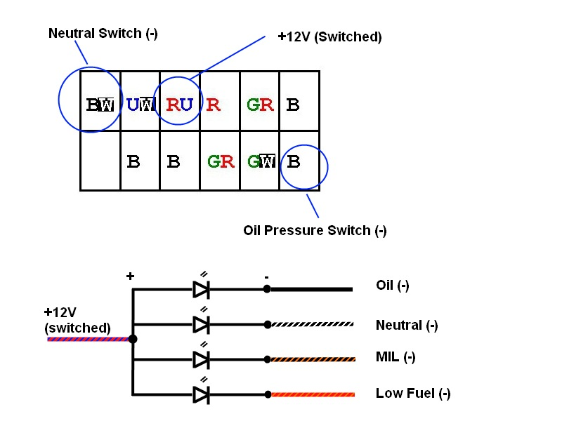 neutral light wiring diagram neutral image wiring how to wire aftermarket idiot warning lights triumph forum on neutral light wiring diagram