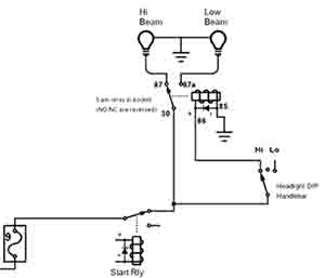 5 wire relay schematic 5 pin relay for headlight triumph rat motorcycle forums  5 pin relay for headlight triumph rat