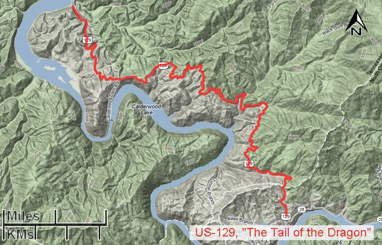 Us Tail Of The Dragon Map Image Information - Us 129 the dragon map